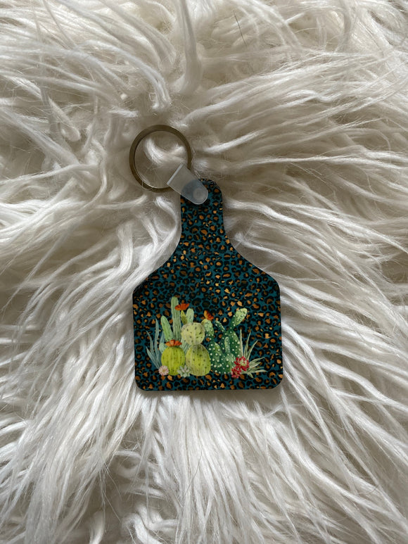 Cactus with Leopard Print Cow Tag Keychain