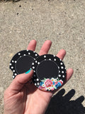 Car Coasters - Sandstone -Set of 2 -Black Floral with Polka Dots