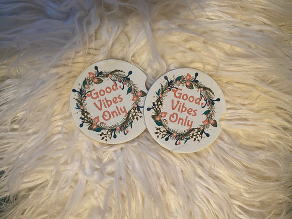 Car Coasters - Sandstone -Set of 2 - Good Vibes Only