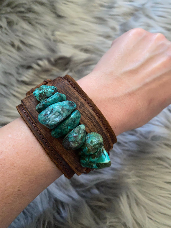 Chunky Turquoise Leather Cuff Bracelet