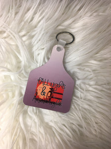 Fall Nights and Arena Lights Cow Tag Keychain