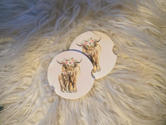 Car Coasters - Sandstone -Set of 2 - Momma and Calf