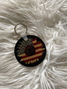 Sunflower American Flag Keychain