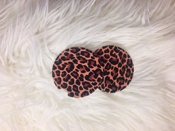 Car Coasters - Sandstone -Set of 2 - Leopard Print