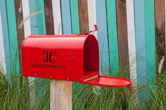 Mailbox Number with Monogram Vinyl Decal