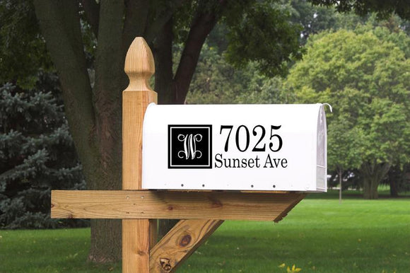 Mailbox Address with Monogram Decal