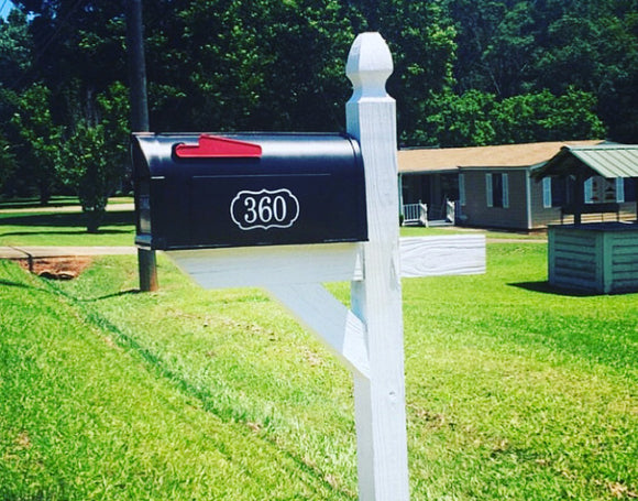 Mailbox Number with Border Reflective Vinyl Decal {6