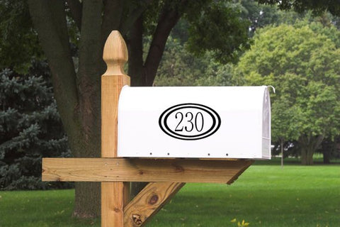 Mailbox Numbers with Frame Vinyl Decal - Set of 2