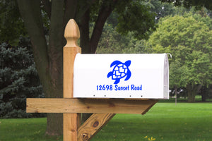 Mail Box Number with Turtle Vinyl Decal