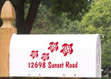 Mailbox Number with Turtle Family Vinyl Decal