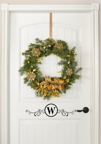 Monogram with Scroll Design / Front Door Decal