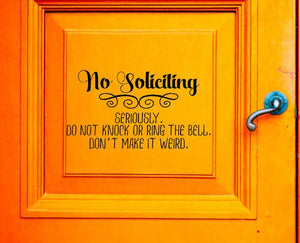 No Soliciting Vinyl Decal