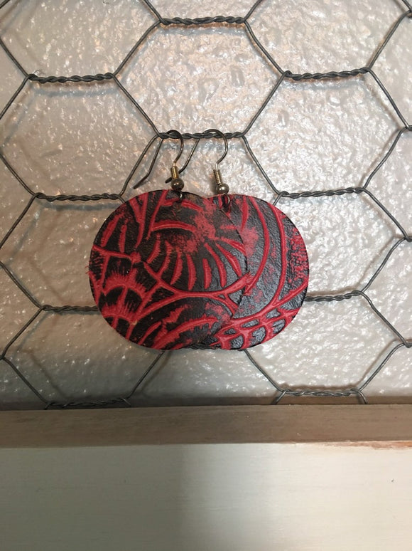 Red and Black Tooled Round Leather Earrings