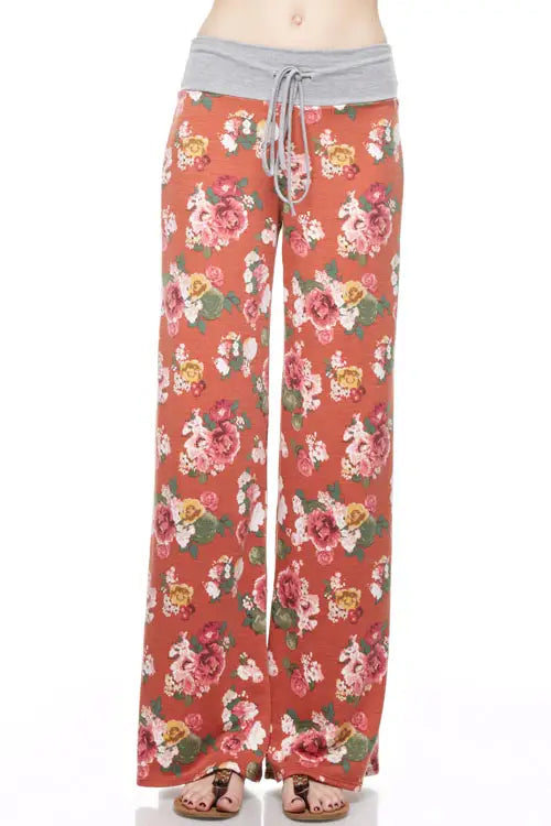 Rust floral straight-leg pants