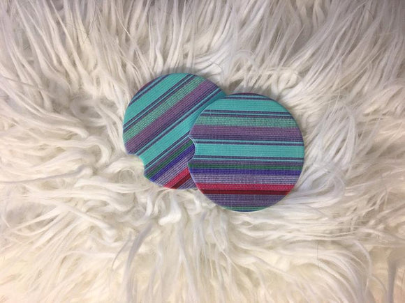 Serape Car Coasters - Sandstone -Set of 2