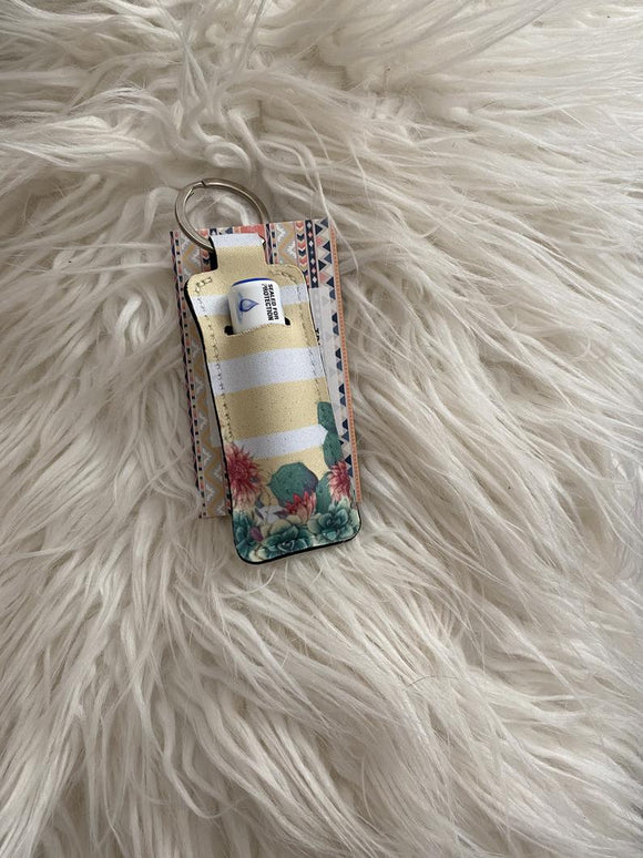 Succulent and Cactus Chapstick Holder Keychain