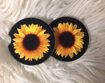 Car Coasters - Sandstone -Set of 2 -Sunflower