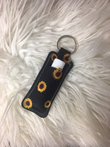Sunflower Chapstick Holder Keychain