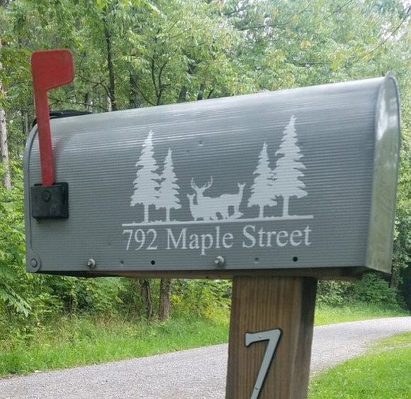 Mailbox Number with Wildlife Scene Vinyl Decal