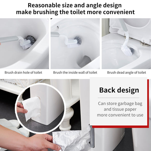 Multi-functional Thin Bathroom Waste Bin integrated with Toilet Brush
