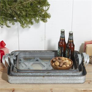 GALVANIZED IRON TRAY, LARGE