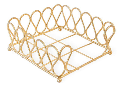 RIBBON COCKTAIL NAPKIN CADDY, GOLD
