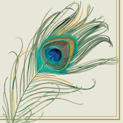 PEACOCK FEATHER COCKTAIL NAPKIN