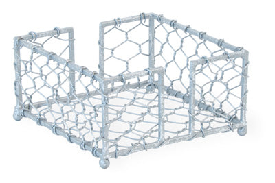 CHICKEN WIRE COCKTAIL NAPKIN CADDY, SILVER