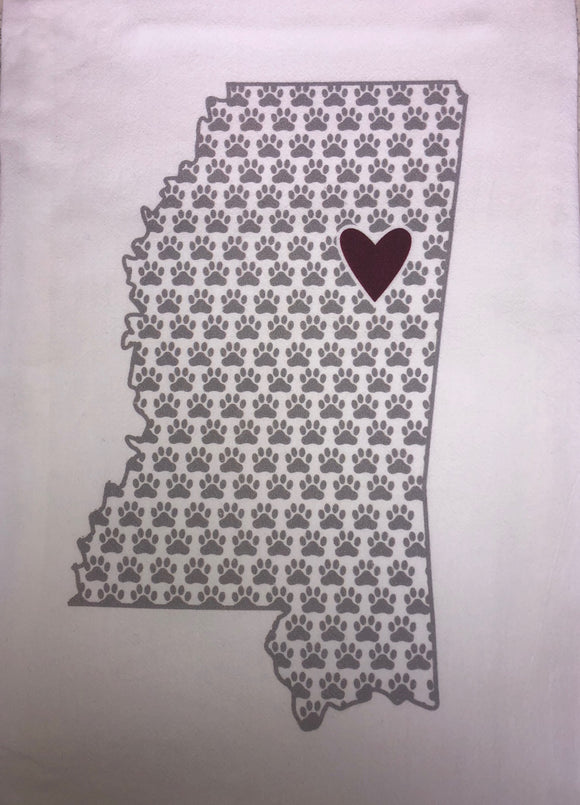 STARKVILLE PAWPRINT MS TOWEL