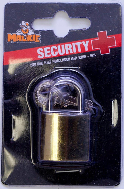 Mackie Brass Plated Padlock 25mm