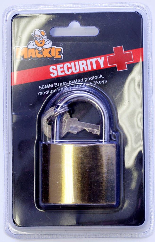 Mackie Brass Plated Padlock 50mm