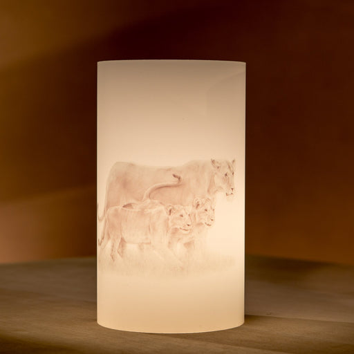 African Fine Art Candle Shade Pencil Lion & Cub 140MM