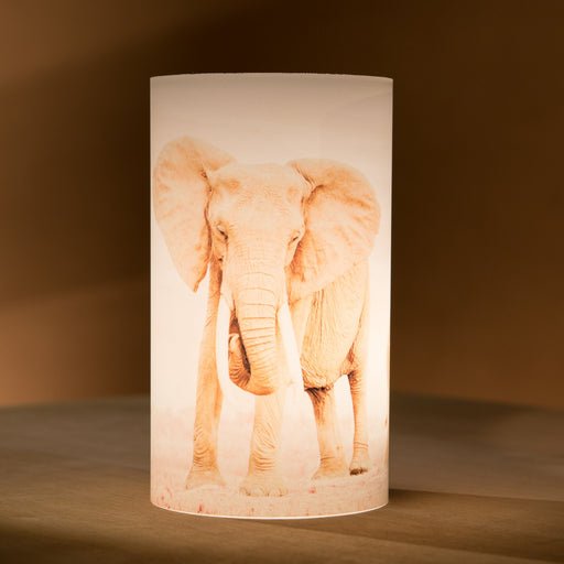 African Fine Art Candle Shade White Elephant Mom And Baby 140MM