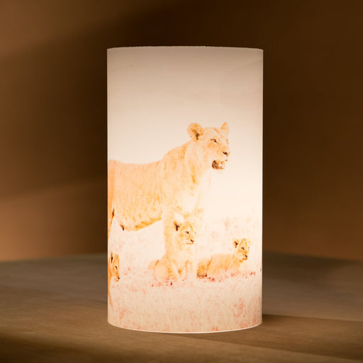 African Fine Art Candle Shade White Lion And Cubs 140MM