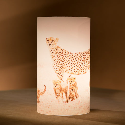 African Fine Art Candle Shade White Cheetah And Cubs 140MM