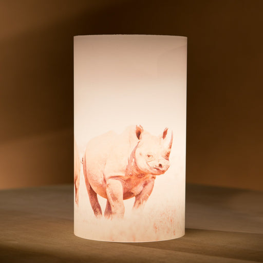 African Fine Art Candle Shade White Rhino Duo 140MM