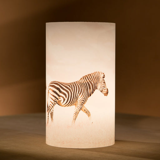 African Fine Art Candle Shade White Zebra Duo 140MM