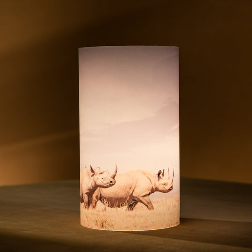 African Fine Art Candle Shade White Rhino Mom 140MM