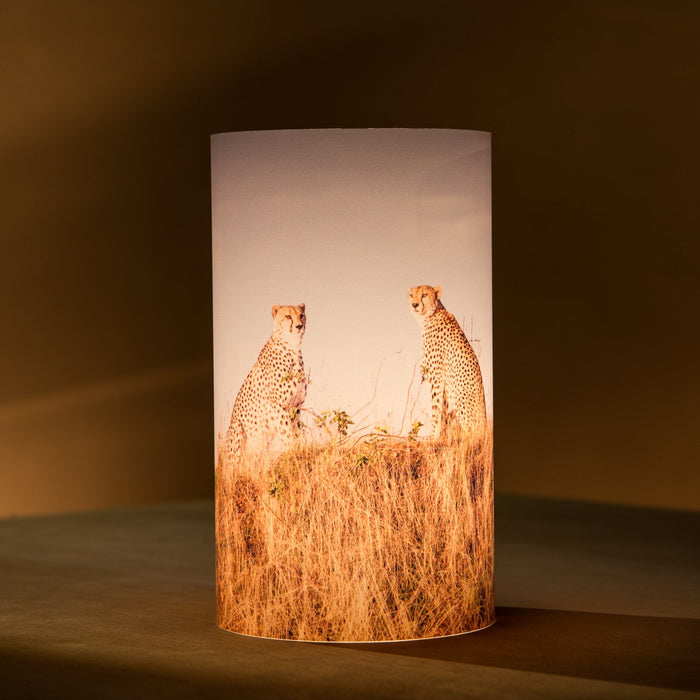 African Fine Art Candle Shade Colour Cheetah Duo 140MM