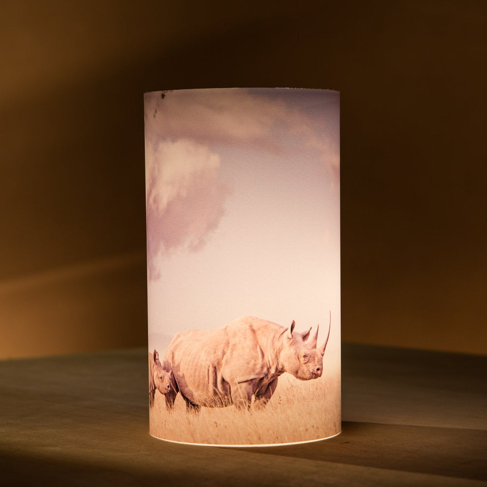 African Fine Art Candle Shade Colour Rhino Mom 140MM