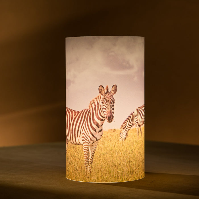 African Fine Art Candle Shade Colour Zebra 140MM