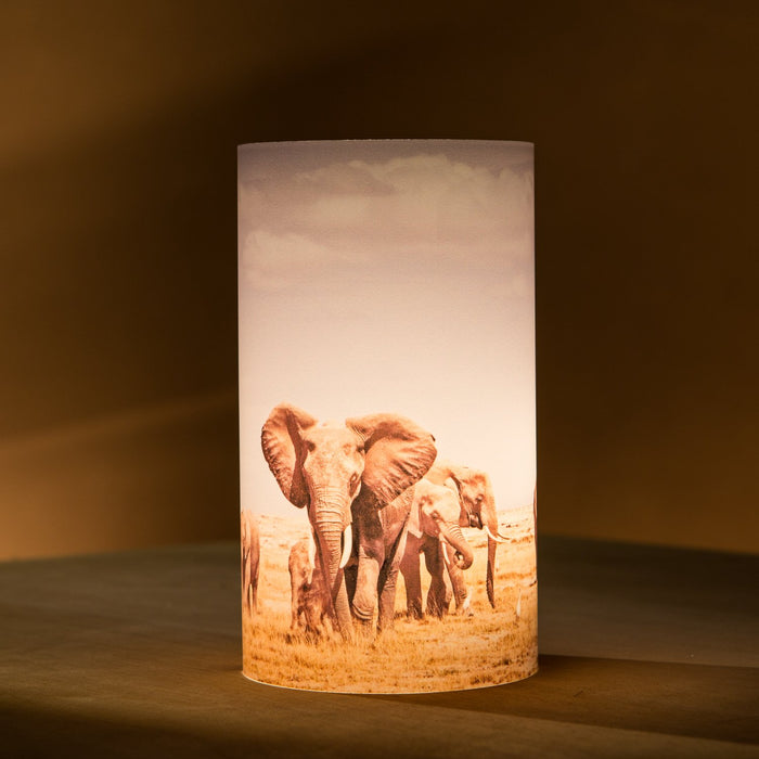 African Fine Art Candle Shade Colour Elephant Herd 140MM