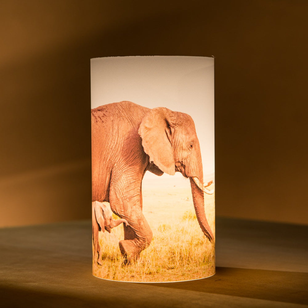 African Fine Art Candle Shade Colour Elephant Mom And Baby 140MM