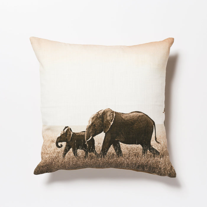 African Fine Art Cushion Cover Elephant Mom & Baby