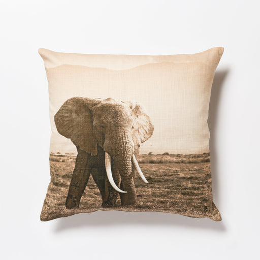 African Fine Art Cushion Cover Elephant Big Tusk