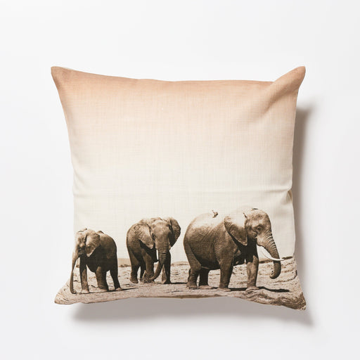 African Fine Art Cushion Cover Elephant Herd Small