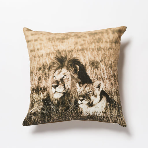 African Fine Art Cushion Cover Lion Couple