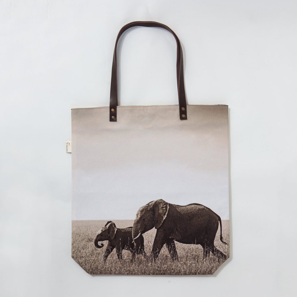 African Fine Art Tote Bag Canvas Elephant Mom & Baby