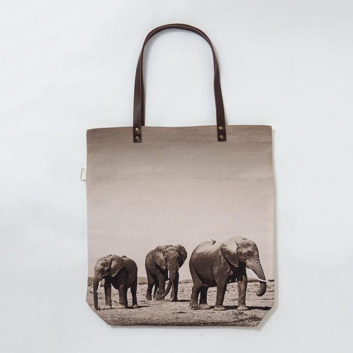 African Fine Art Tote Bag Canvas Elephant Herd Small