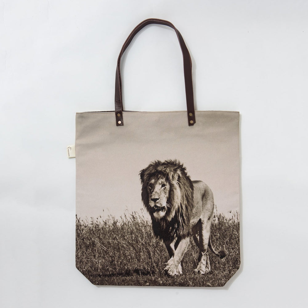 African Fine Art Tote Bag Canvas Lion Single